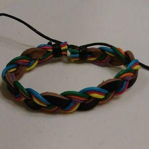 Rainbow Leather and Twine Drawstring Bracelet